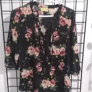 Black and pink rose button up blouse